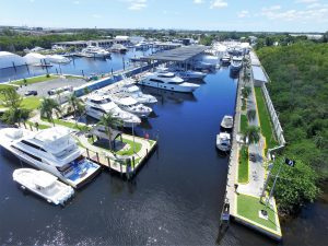 Arial view of a marina for sale.